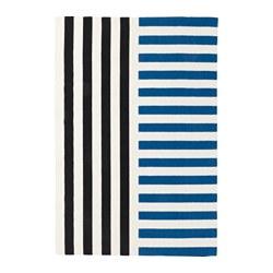 AVSIKTLIG - Karpet, anyaman datar, biru/hitam
