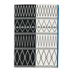 AVSIKTLIG - Karpet, anyaman datar, hitam/putih