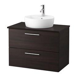 GODMORGON/TOLKEN/TÖRNVIKEN - Meja wastafel dg meja ukuran 45, hitam-cokelat/antrasit