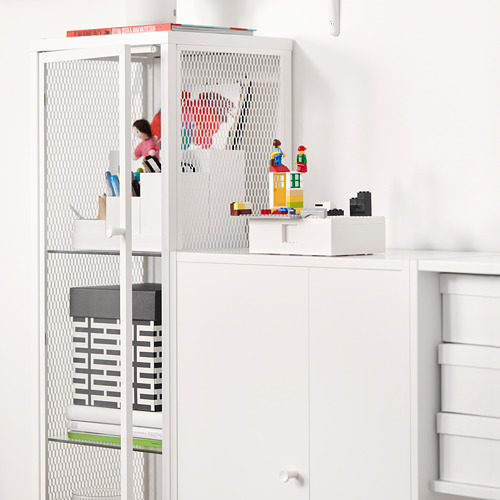 BAGGEBO - kabinet dengan pintu kaca, logam/putih, 34x30x116 cm | IKEA Indonesia - PE816494_S4