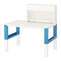 PÅHL - Meja dengan unit tambahan, putih/biru