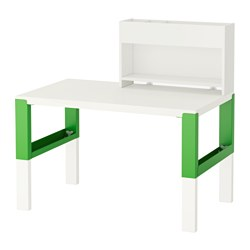 PÅHL - Desk with add-on unit, white/green
