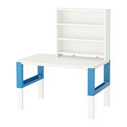 PÅHL - Meja dgn unit rak, putih/biru