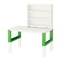 PÅHL - Meja dgn unit rak, putih/hijau