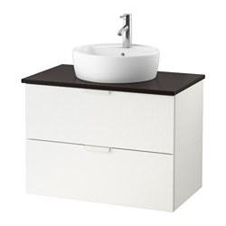 GODMORGON/TOLKEN/TÖRNVIKEN - Meja wastafel dg meja ukuran 45, putih/antrasit Keran Dalskär