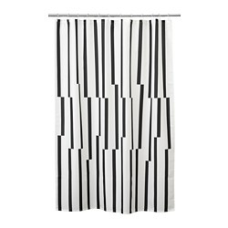 KINNEN - Shower curtain, white/black