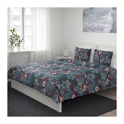 FILODENDRON - Quilt cover and 4 pillowcases, dark blue/floral patterned