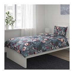 FILODENDRON - Sarung quilt dan 2 sarung bantal, biru tua/motif floral