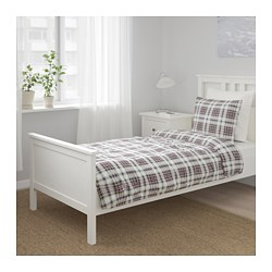 MOSSRUTA - Quilt cover and 2 pillowcases, multicolour/check