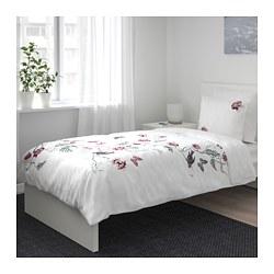 JÄTTELILJA - Sarung quilt dan 2 sarung bantal, putih/motif floral