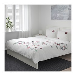 JÄTTELILJA - Sarung quilt dan 4 sarung bantal, putih/motif floral