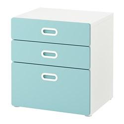 FRITIDS/STUVA - Lemari 3 laci, putih/biru muda
