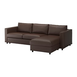 VIMLE - 3-seat sofa-bed, with chaise longue/Farsta dark brown