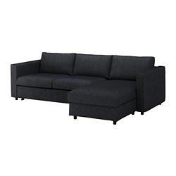 VIMLE - Sofa tempat tidur 3 dudukan, dengan chaise longue/Tallmyra hitam/abu-abu