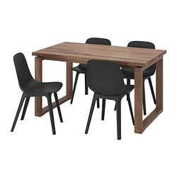 MÖRBYLÅNGA/ODGER - Table and 4 chairs, oak veneer brown stained/anthracite
