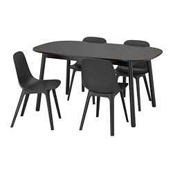 VEDBO/ODGER - Meja dan 4 kursi, hitam/antrasit