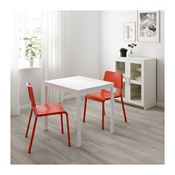TEODORES/VANGSTA - Table and 2 chairs, white/bright orange