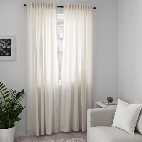 HANNALILL - curtains, 1 pair, beige, 145x250 cm   IKEA Indonesia - PE672913_S4