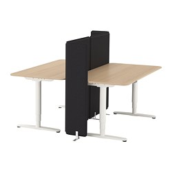 BEKANT - Desk sit/stand with screen, white stained oak veneer/white