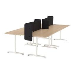 BEKANT - Meja dengan penyekat, veneer kayu oak diwarnai putih/putih