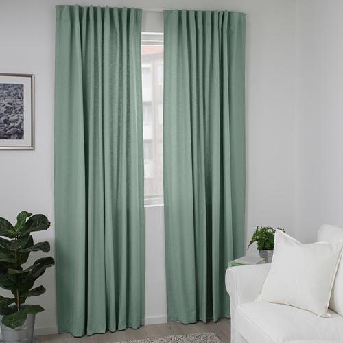 TIBAST - curtains, 1 pair, green, 145x250 cm | IKEA Indonesia - PE693362_S4