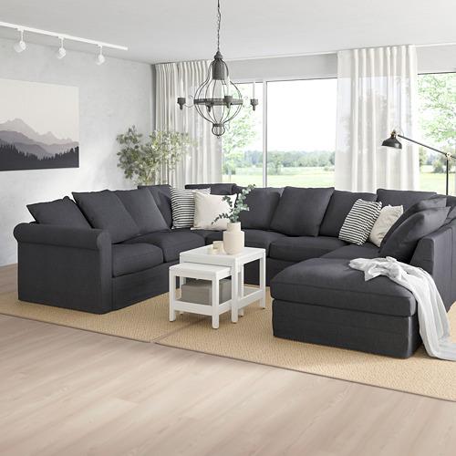 GRÖNLID - sofa bentuk u, 6 dudukan, dengan ujung terbuka/Sporda abu-abu tua   IKEA Indonesia - PE763298_S4