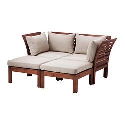 ÄPPLARÖ - Sofa mdlr dua dudukan, luar ruangan, dengan bangku kaki diwarnai cokelat/Hållö krem