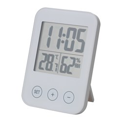 SLÅTTIS - Clock with hygro-/thermometer, white