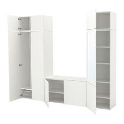 PLATSA - Wardrobe with 9 doors, white/Fonnes Ridabu
