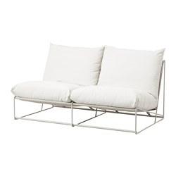 HAVSTEN - Sofa 2 dudukan, dalam/luar ruang, tanpa sandaran tangan/krem