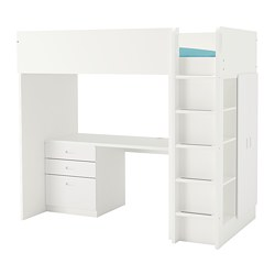 FRITIDS/STUVA - Loft bed combo w 3 drawers/2 doors, white/white