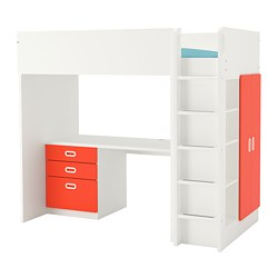 FRITIDS/STUVA - Loft bed combo w 3 drawers/2 doors, white/red