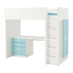 FRITIDS/STUVA - Loft bed combo w 3 drawers/2 doors, white/light blue