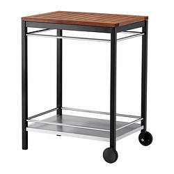 KLASEN - Trolley, outdoor, stainless steel/brown stained
