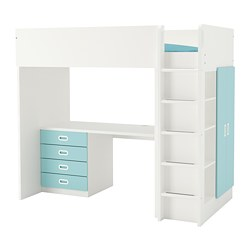 FRITIDS/STUVA - Loft bed combo w 4 drawers/2 doors, white/light blue