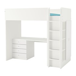 FRITIDS/STUVA - Loft bed combo w 4 drawers/2 doors, white/white