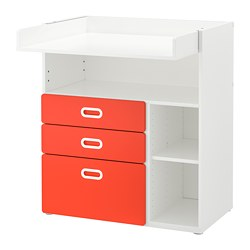 FRITIDS/STUVA - Changing table with drawers, white/red