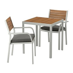 SJÄLLAND - Meja+2 kursi dg sdrn lgn, l.ruang, cokelat muda/Frösön/Duvholmen abu-abu tua