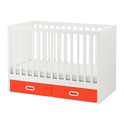 FRITIDS/STUVA - Ranjang bayi dengan laci, merah