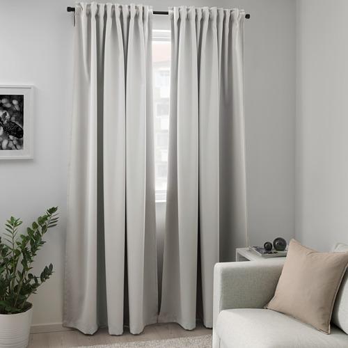 MAJGULL - room darkening curtains, 1 pair, light grey, 145x250 cm | IKEA Indonesia - PE672455_S4