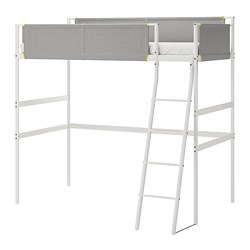 VITVAL - Loft bed frame, white/light grey