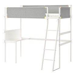 VITVAL - Loft bed frame with desk top, white/light grey
