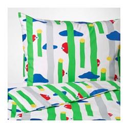 AVSIKTLIG - Sarung quilt dan 2 sarung bantal, hijau