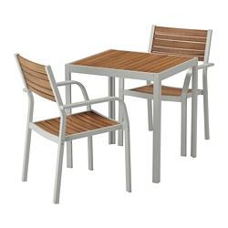 SJÄLLAND - Meja+2 kursi dg sdrn lgn, l.ruang, cokelat muda/abu-abu muda