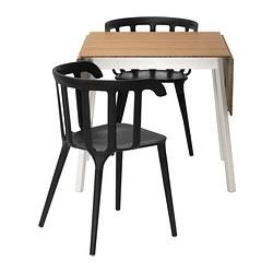 IKEA PS 2012/IKEA PS 2012 - Meja dan 2 kursi, bambu/hitam