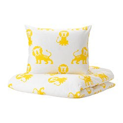 DJUNGELSKOG - Quilt cover and pillowcase, lion/yellow