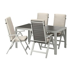 SJÄLLAND - Meja+4 kursi recliner, l.ruang, abu-abu tua/Frösön/Duvholmen krem