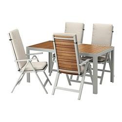 SJÄLLAND - Meja+4 kursi recliner, l.ruang, cokelat muda/Frösön/Duvholmen krem