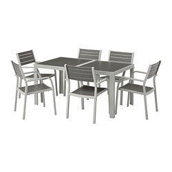 SJÄLLAND - Table+6 chairs w armrests, outdoor, dark grey/light grey