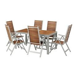 SJÄLLAND - Meja+6 kursi recliner, l.ruang, cokelat muda/abu-abu muda